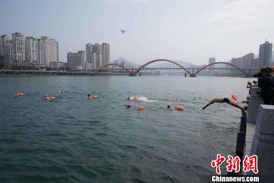 图为:浙江瓯江冬泳 周峰 摄